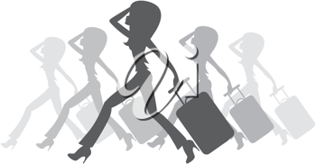 Royalty Free Clipart Image of Women Silhouettes Running With a Suitcase