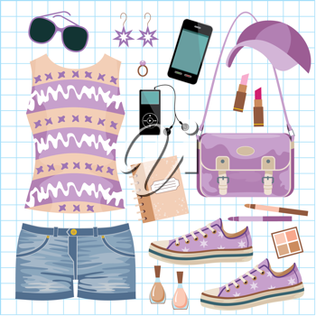 Royalty Free Clipart Image of a Fashion Set
