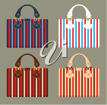 Royalty Free Clipart Image of Four Purses on a Beige Background