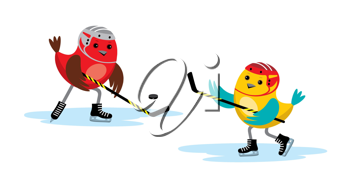 Royalty Free Clipart Image of Birds Playing Hockey