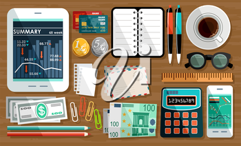Business workplace with cup of coffee, office things, equipment, objects. vector