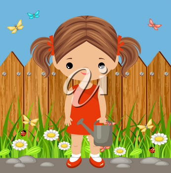 Cute girl with a watering can. Gardening. Vector illustration