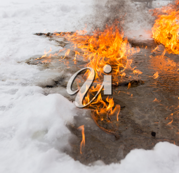 fiery flame on the white snow in winter