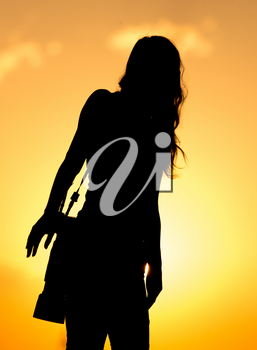 Silhouette of a girl photographer at sunset .
