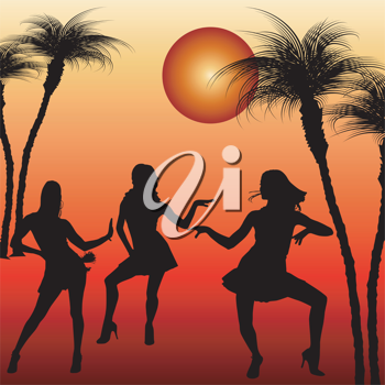 Royalty Free Clipart Image of Three Dancing Woman Silhouetted by a Tropical Sun
