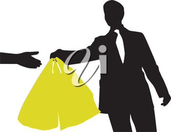 Royalty Free Clipart Image of a Man in a Business Suit With a Shopping Bag