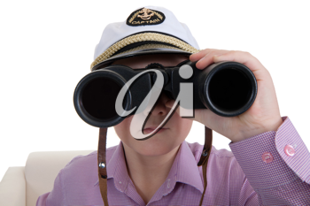 Royalty Free Photo of a Boy With Binoculars