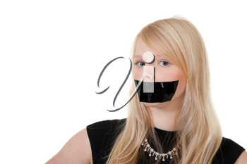 Royalty Free Photo of a Girl With Her Mouth Taped Close