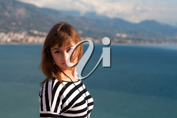 Royalty Free Photo of a Woman by the Coast in Turkey