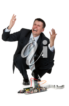 Royalty Free Photo of a Businessman With a Broken Computer