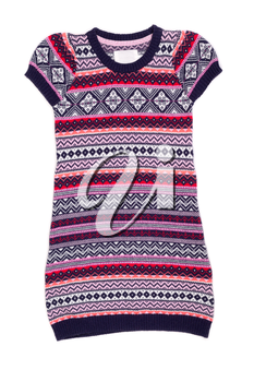 knitted tunic with scandinavian design on white