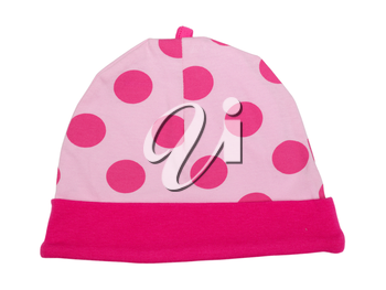 Pink baby hat with polka dots on a white background
