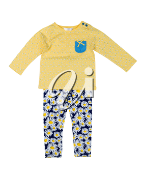 Children's clothing with a pattern of daisy. Isolate on white