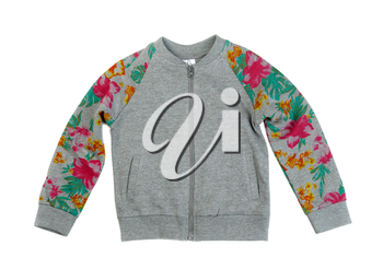 Gray sweatshirt with a print, isolate on a white background, studio