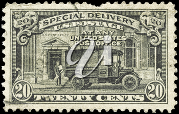 Royalty Free Photo of a 1925 US Stamp of a Postman and Post Office Truck, Special Delivery Issue