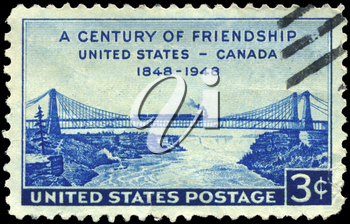 Royalty Free Photo of 1948 US Stamp of Niagara Railway Suspension Bridge, US -Canada Friendship Centenary