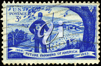 Royalty Free Photo of 1953 US Stamp Shows Agricultural Scene and Future Farmer, 25th Anniversary of Future Farmers of America