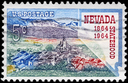 Royalty Free Photo of 1964 US Stamp Shows Virginia City and Map of Nevada, Statehood Centenary