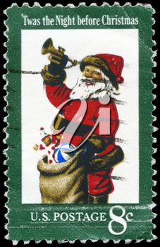 Royalty Free Photo of 1972 US Stamp Shows a Santa Claus