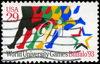 Royalty Free Photo of 1993 US Stamp Shows Stylized Runners, World University Games, Buffalo