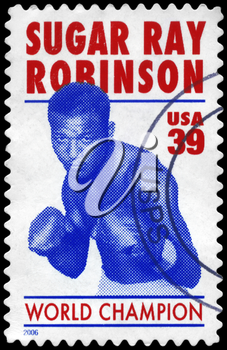 Royalty Free Photo of 2006 US Stamp Shows a Sugar Ray Robinson (1921-89), Boxer