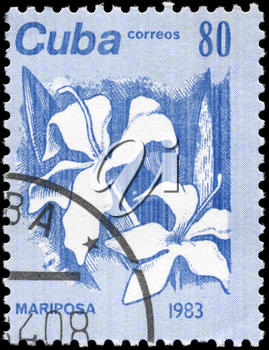 CUBA - CIRCA 1983: A Stamp printed in CUBA shows the Mariposa, from the series Flowers, circa 1983