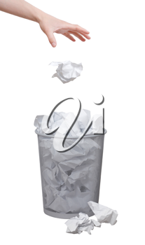 Royalty Free Photo of a Person Throwing Out Paper