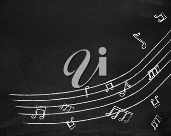 Royalty Free Photo of Music Notes on a Chalkboard