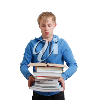 Royalty Free Photo of a Teenager Holding a Stack of Books