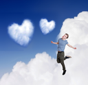 Heartshaped cloud with man in love