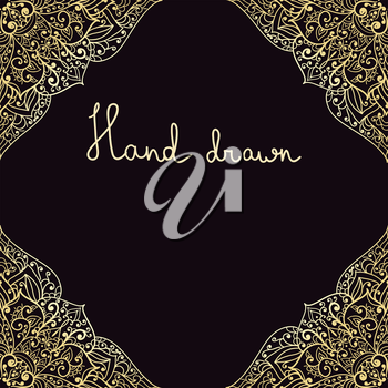 vector hand drawn highly detailed frame on back background,