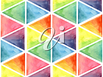 Vector  Watercolor Geometric Seamless Pattern with Triangles, fully editable eps 10 file with clipping masks and seamless pattern in swatch menu