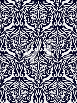 Vector Seamless Mexican Otomi Style Winter Pattern on blue