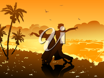 Royalty Free Clipart Image of a Couple Dancing on the Beach