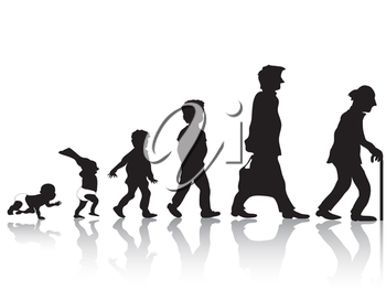 Royalty Free Clipart Image of People Young to Old