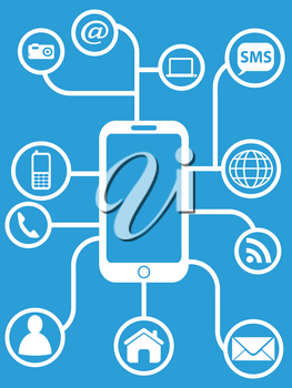 the design of smart phone network on blue background