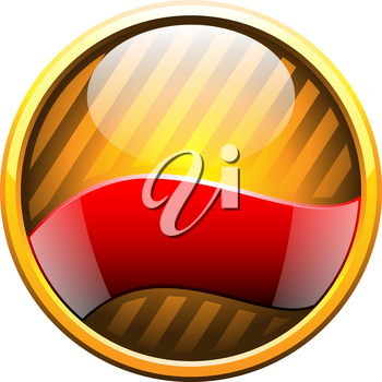 Royalty Free Clipart Image of a Gold Badge With a Red Ribbon