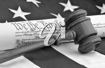Royalty Free Photo of the US Constitution and Gavel