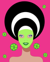 Royalty Free Clipart Image of a Woman Having a Facial