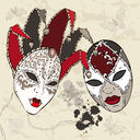 Royalty Free Clipart Image of Venetian Carnival Masks