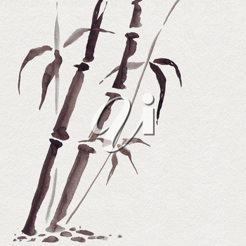 Bamboo in Japanese painting style. Traditional Beautiful watercolor hand drawn illustration