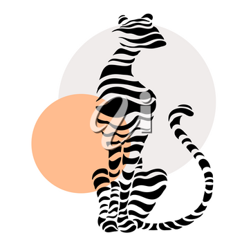Abstract silhouettes of big cat. Beautiful Vector illustration. White background.