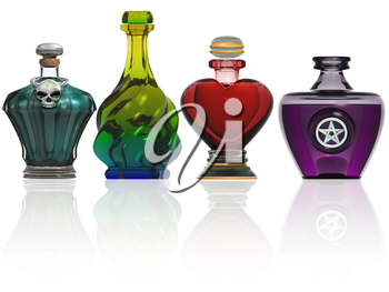 Royalty Free Clipart Image of Potion Bottles