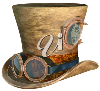 Royalty Free Clipart Image of an Isolated Steampunk Top Hat and Brass Goggles