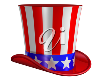 Splendid top hat for Uncle Sam decorated with stars and stripes