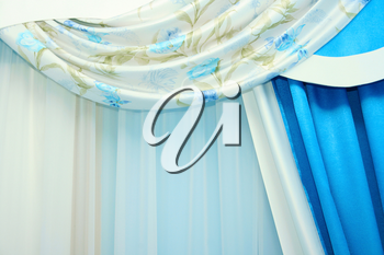 Royalty Free Photo of Blue Curtains