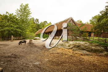 Traditional old farm at Skansen park, the first open-air museum and zoo, located on the island Djurgarden.