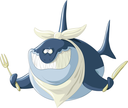 Royalty Free Clipart Image of a Hungry Shark