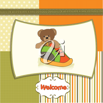 Royalty Free Clipart Image of a Teddy Bear in a Booty on a Baby Announcement