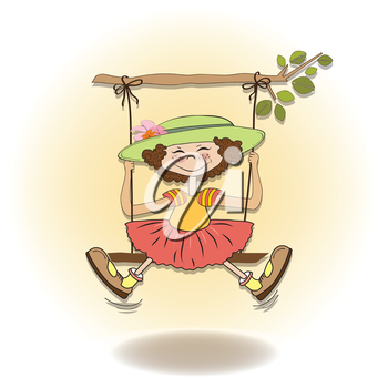 Royalty Free Clipart Image of a Girl on a Swing